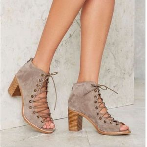 Jeffery Campbell taupe Cors heel peep toe booties